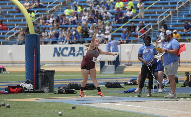 Paint Rock High School's Ashlynn Hall competes in the girls shot put at the Region II-1A Track and Field Championships Friday, April 23, 2021, at Angelo State University.