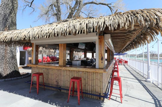 The outdoor bar at Charley's Pier Restaurant Tiki Bar in Playland in Rye, pictured on April 23, 2021.