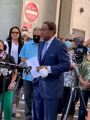 Attorney John Burris, who was co-counsel during Rodney King's civil trial in 1992, addresses the media during a recent trial in the San Francisco area.