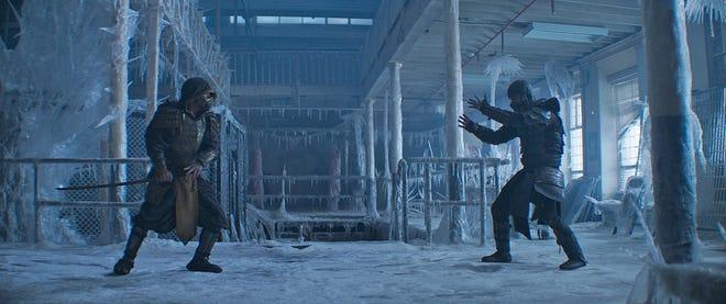 "Old foes, new faces. (L-R) Scorpion (Hiroyuki Sanada) and Sub-Zero (Joe Taslim) face off in the finale of ""Mortal Kombat."" Despite the ice, it got hot."