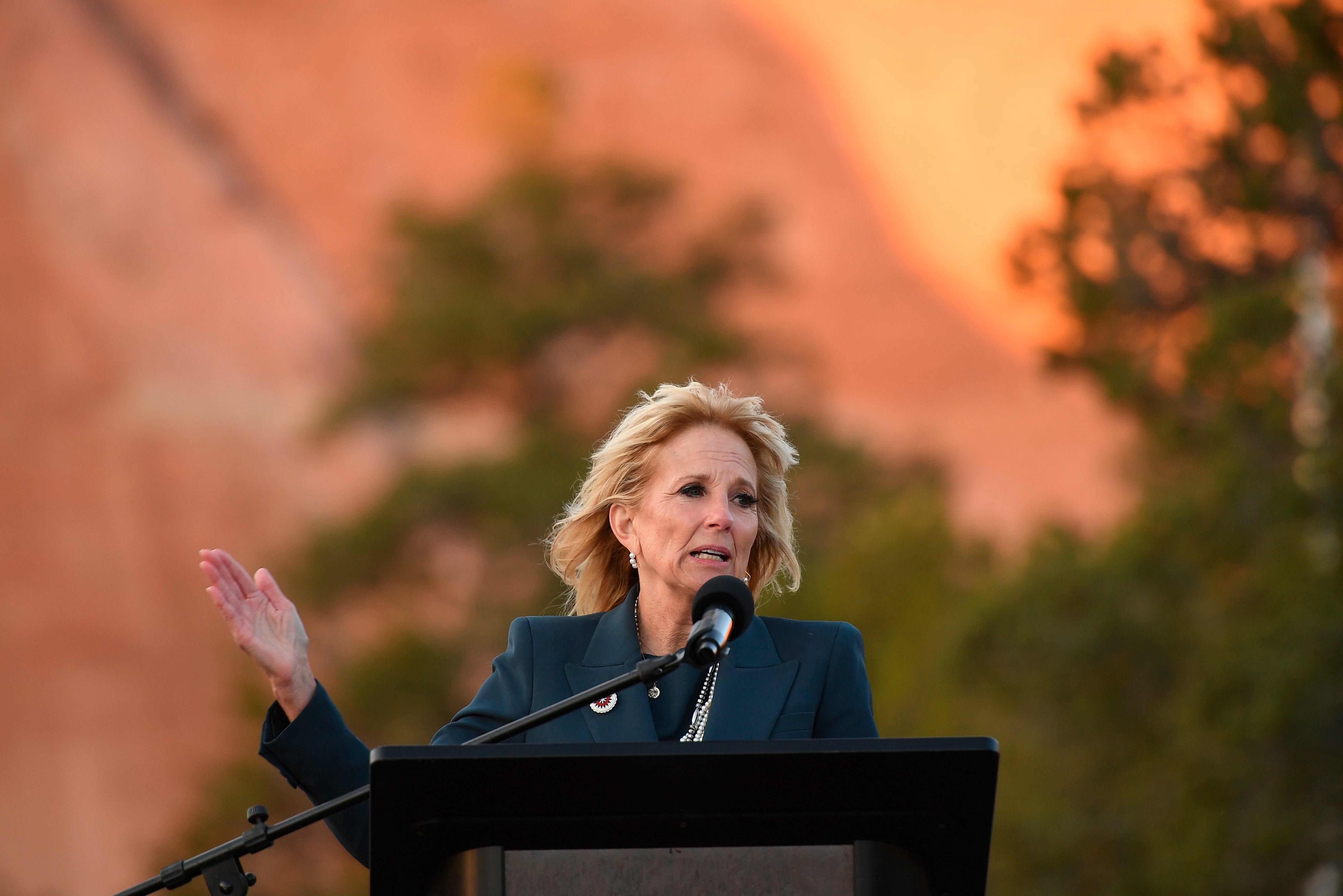 First lady Jill Biden speaks during a live radio address to the Navajo Nation at the Window Rock Navajo Tribal Park & Veterans Memorial in Window Rock, Ariz., on Thursday, April 22, 2021.(Mandel Ngan/Pool via AP)