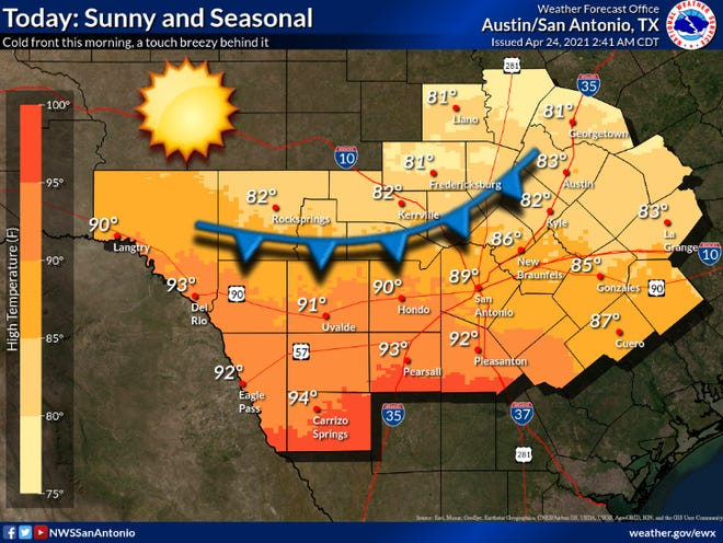 Saturday weather is expected to be seasonal and sunny according to the National Weather Service
