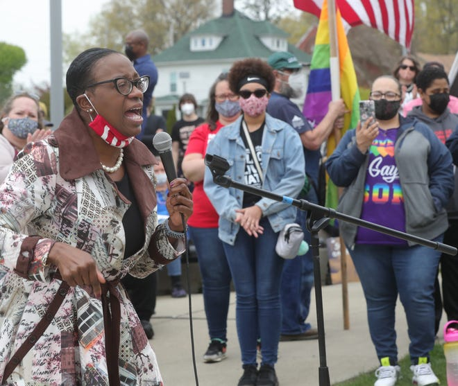 Nina Turner, Democratic candidate for Ohio's 11th Congressional District, speaks out against gun violence at the Akron March For Our Lives event Saturday.