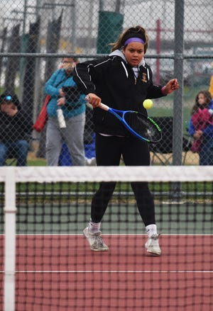 JayLyn Schakel and the rest of the Nevada girls' tennis team has been competitive in its first season as a program this spring. The Cubs won their first-ever match with an 8-3 triumph at Saydel April 1.