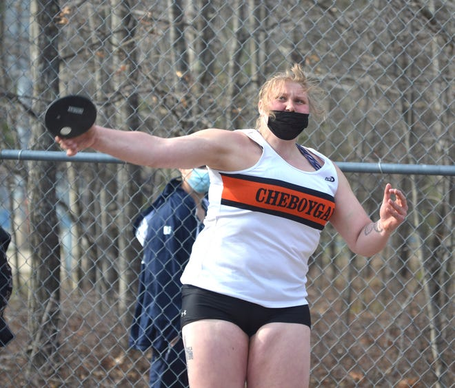 Cheboygan senior Isabelle Buhr throws during the shot put event at the Inland Lakes Bulldog track and field invitational held in Indian River on Friday.
