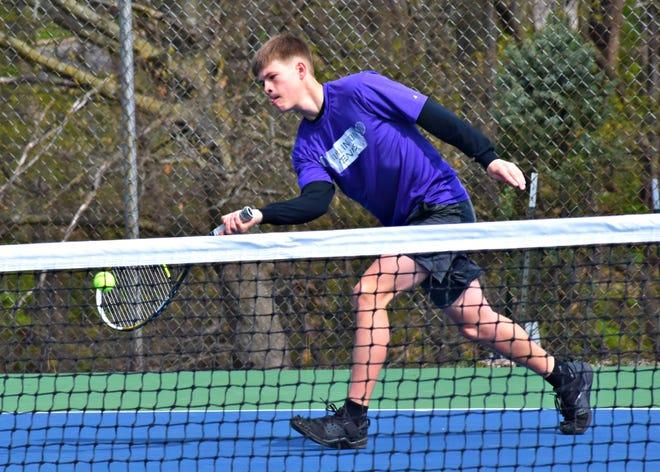 Burlington High School's Tyce Berthlshofer returns a serve from Keokuk's Ivan Lopez in a first round No. 3 singles match in the Grayhound Invitational at Dankwardt Park Saturday morning. Lopez won the match, 11-2.