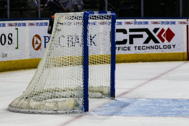Jacksonville Icemen during the first period of an ECHL hockey game against the South Carolina Stingrays at Veterans Memorial Arena in Jacksonville, Fla., Sunday, April 18, 2021.  [Gary Lloyd McCullough/For the Jacksonville Icemen]