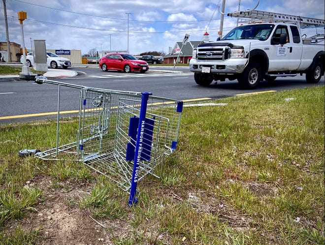 Someone dumped this shopping cart from the Harbor Freight Tools store on Mariano Bishop Boulevard on the median near William S. Canning Boulevard and Lawton Street.