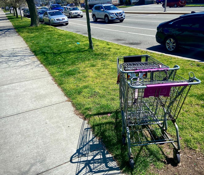 A pair of Stop & Shop shopping carts are seen here near the corner of Plymouth Avenue and Fourth Street.