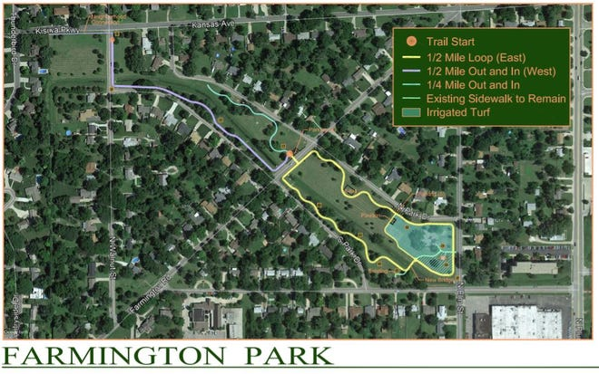This is a concept drawing for Farmington Park improvements. It is not the final design, which park officials said will likely change. The Hutchinson City Council last week approved a contract with design engineers to create a development plan.