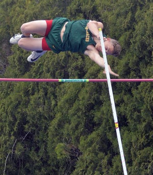 Lucas Baker of Pratt competes in the pole vault during the 50th Conrad Nightingale Invitational in Halstead.