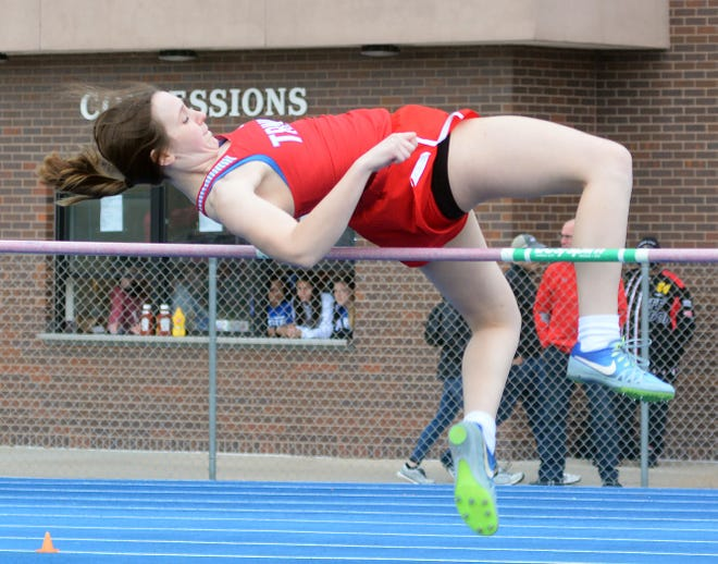 Becca Hammersmith of Hutchinson Trinity won the title in the high jump at the 50th Conrad Nightingale Invitational.