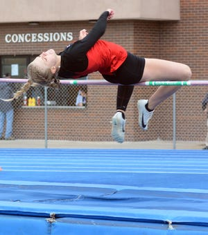 Addie Fitch of Sedgwick finished second in the high jump at the 50th Conrad Nightingale Invitational.
