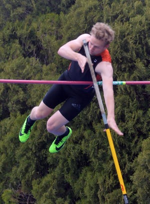 Stephen Peterson of Smoky Valley competes in the pole vault at the 50th Conrad Nightingale Invitational.