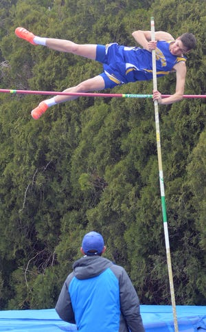 Mason Regier of Berean Academy competes in the pole vault Friday in the 50th Conrad Nightingale Invitational. Regier finished sixth in both the pole vault and high jump.