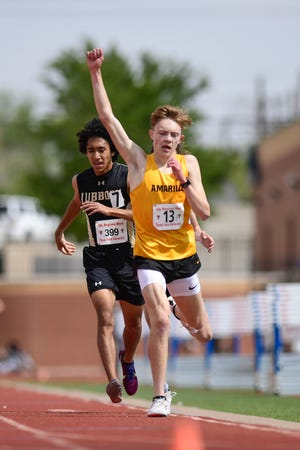 Amarillo's Isaac McGill wins the boys 3200 meter run at the Region I Class 4A and 5A regional track and field meet Friday, April 23, 2021, at Lowrey Field in Lubbock, Texas.