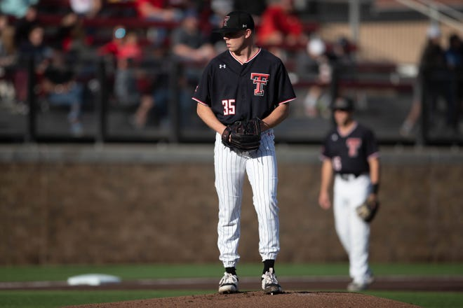 Texas Tech's Patrick Monteverde gets ready to deliver a pitch during a Big 12 Conference game Friday, April 23, 2021 against Baylor at Dan Law Field at Rip Griffin Park.