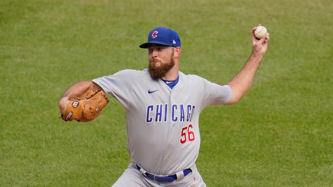 Chicago Cubs relief pitcher Kyle Ryan delivers during the fifth inning of a game last year against Pittsburgh. Ryan, from Auburndale, saw his first big-league action of the year this week after getting called up.