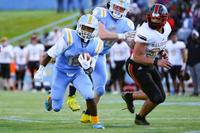 Burns' Jeremiah Norris finds room to run in the second quarter of Friday's game against Salisbury.