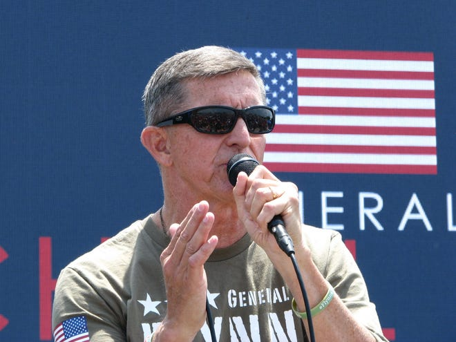 """Michael Flynn, former President Donald Trump's first national security adviser, spoke at a """"Save America Patriot Rally"""" at DeSoto Square Mall in Bradenton on Saturday, April 24."""