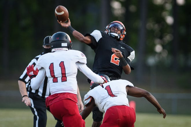 South View quarterback Cedavion Wimbley (2), the Athlete of the Year for the Patriot 4-A/3-A Conference, was one of 11 Tigers to earn a first-team selection.