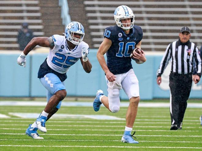 Freshman quarterback Drake Maye (10) played three series during UNC football's spring game on Saturday in Kenan Stadium.