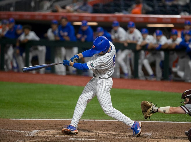 Florida's Colby Halter came through with a deep triple over the centerfielder's head to drive in a run.