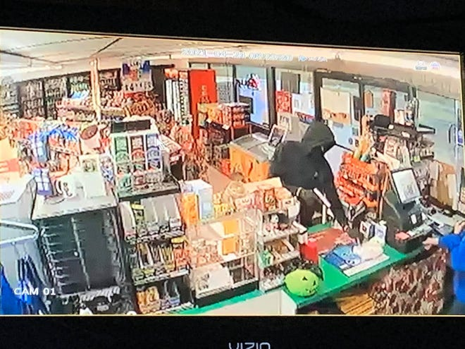 Southside police are looking for the man in this security camera photo in connection with a robbery Saturday morning at the Marathon station on Green Valley Road.