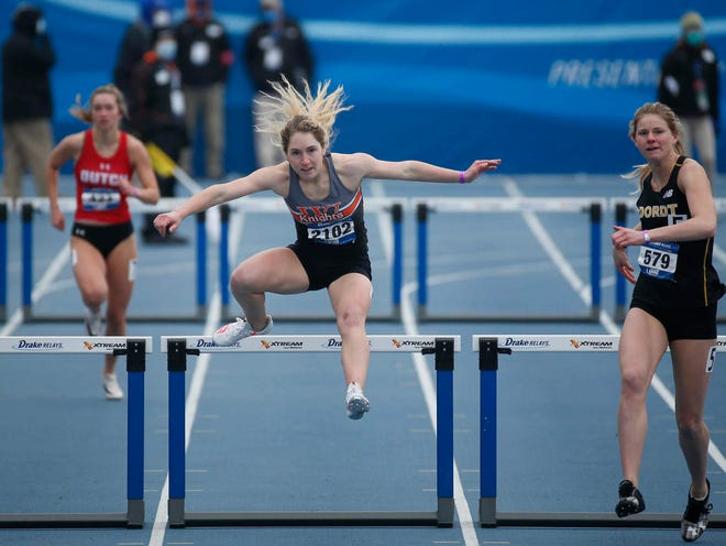 Wartburg sophomore Carson McSorley clears a hurdle in the college women's 400-meter hurdles during the Drake Relays on Saturday, April 24, 2021, at Drake Stadium in Des Moines.