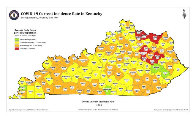 The COVID-19 current incidence rate map for Kentucky as of Friday, April 23.