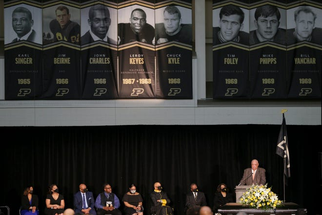 Jesse Moore speaks during a memorial service for Leroy Keyes, Saturday, April 24, 2021 at Mollenkopf Athletic Center in West Lafayette. Keyes, a star for the Purdue University football team from 1966-68 and an ambassador for the athletic department and university, died on April 15.