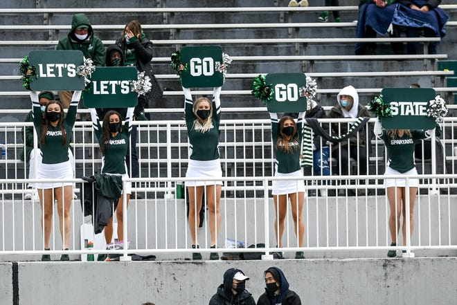 Michigan State cheerleaders perform during the spring football game on Saturday, April 24, 2021, at Spartan Stadium in East Lansing.