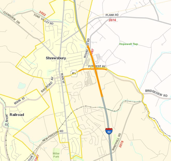 Lane restrictions are planned forthe Interstate 83 bridge spanning Route 851 in southern York County,according to Pennsylvania Department of Transportation. April 24, 2021.