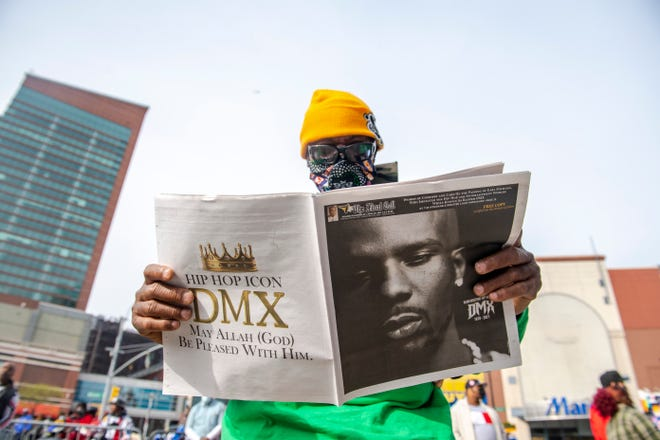 "People gather for a ""Celebration of Life Memorial"" for rapper DMX at Barclays Center, Saturday, April. 24, 2021, in the Brooklyn borough of New York. DMX, whose birth name is Earl Simmons, died April 9 after suffering a ""catastrophic cardiac arrest."""