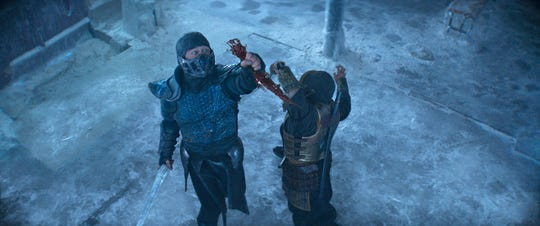Sub-Zero stabs Scorpion, grabs his blood, instantly freezes it, and then stabs him again with his own blood.