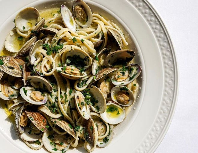 Linguini with clams is one of the many dishes on the menu at Sammie's, a new red-sauce Italian restaurant opening this week in the former Hut's Hamburgers.