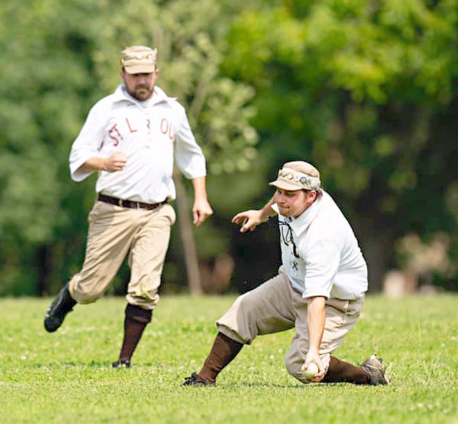 A player for the St. Louis Browns Stockings attempts to catch a ball during an 1860 Baseball Game. The St. Louis Browns Stockings will play the Topeka Westerns in an Old Timers Game Saturday, May 1 at Twillman field in Harley park, starting at 1 p.m.