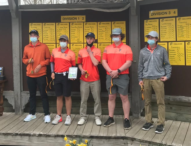 The Cheboygan varsity boys golf team took home the Division 3 title with a first-place finish at the Crystal Mountain Invitational on Saturday. Members of the Cheboygan team in this photo include (from left) PJ Maybank III, Justin Horrocks, Aidan Kosanke, Scott Pavwoski and Carson Lavender. Missing from the photo are Glenn Pellenz and head coach Tim Reed.