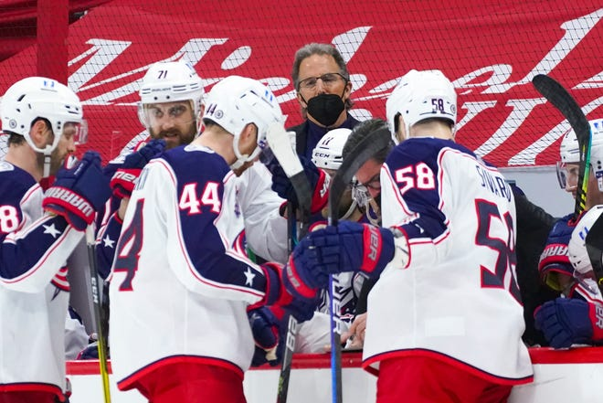 "Blue Jackets coach John Tortorella looks on during a timeout against Carolina on March 20. Said Tortorella: ""Our locker room has not been good this year, and it's under my watch."""