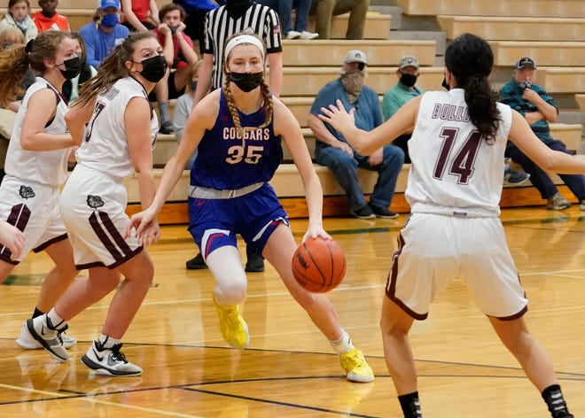 Lenawee Christian senior Bree Salenbien (35) drives to the basket during the Cougars' Division 3 district game against Morenci on March 24 at Sand Creek.
