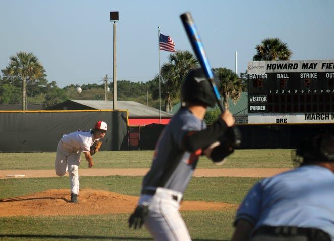 Parker starting pitcher Shane Ramey (2) delivers a pitch to Orange Park batter Jose Rivera during an April game.