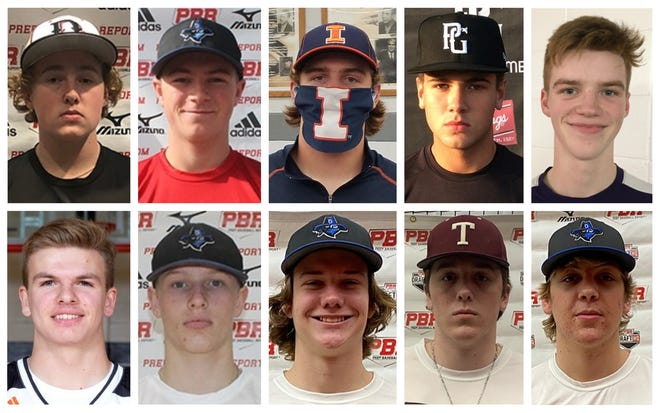 A look at the top Peoria-area baseball players heading into the 2021 season. Top row, left to right: Jack Barham, Dunlap; Noah Campbell, East Peoria; Holt Geltmaker, Illinois Valley Central; Josh Heyder, Washington; and Wes Hunt, Peoria Christian. Bottom row, left to right: Gus Lucas, Washington; Travis Lutz, Limestone; Nick Rainey, IVC; David Smith, Tremont; Ethan Sosnowkski, East Peoria.