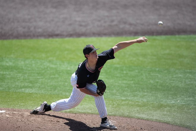 Texas Tech pitcher Mason Montgomery throws the ball during a Big 12 Conference game Sunday against Baylor at Dan Law Field at Rip Griffin Park.