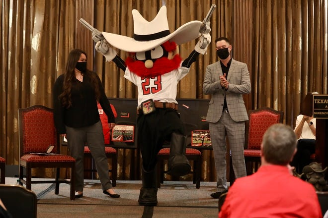 Jacey Ross and Triston Colquett were revealed Friday as the students who served as the Raider Red mascot for the 2019-2020 academic year.