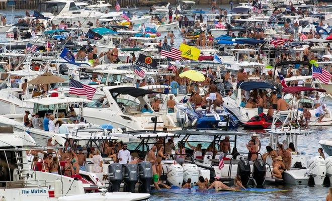 Boaters gather in Lake Boca Raton for the Boca Bash Sunday, April 25, 2021.