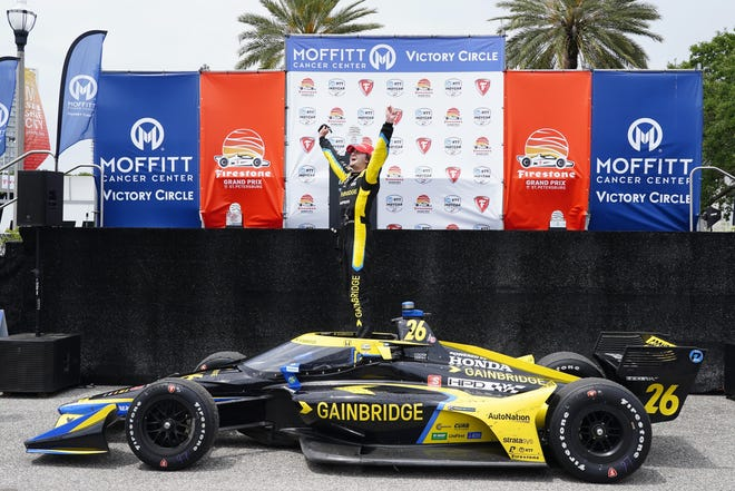 Colton Herta celebrates after winning Sunday's Grand Prix of St. Petersburg.
