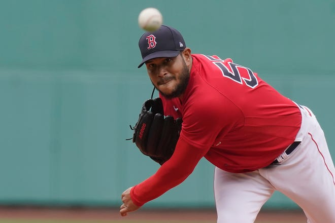 Red Sox starter, and eventual winner, Eduardo Rodriguez delivers a pitch in the first inning of Sunday's game against the Seattle Mariners. He went seven innings, scattered six hits and struck out eight against no walks.