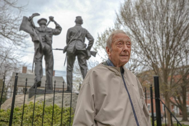 Herb Browne, who served in South Korea, visits the memorial park on Hope Street a few blocks away from his Bristol bagel shop. Through all his time spent overseas his memory of the young stranded children of Korea has weighed on his mind.