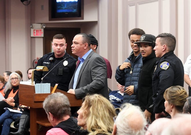 SammyNuñez, director of Fathers & Families of San Joaquin, speaks in support of Advance Peace before the City Council in 2017. Fathers & Families received a $1 million grant in 2019 as part of a state program that gives some of the fees collected from the sale of recreational marijuana to community organizations working with those affected by the war on drugs.