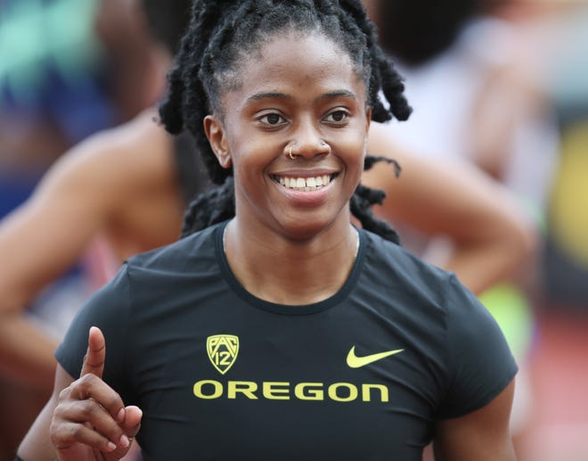 Oregon's Kemba Nelson was all smiles after winning her semifinal heat in the women's 100 meters during the USATF Grand Prix at Hayward Field in April.